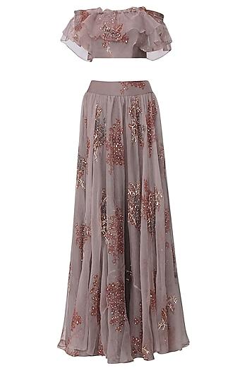 Purple Printed Off Shoulder Crop Top and Skirt Set by Pleats by Kaksha & Dimple