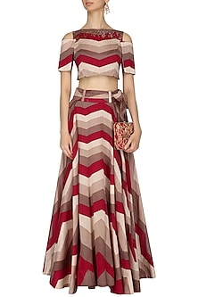 Red, Beige and Ivory Glass Sleeves Stripe Top and Skirt Set by Pallavi Jaipur
