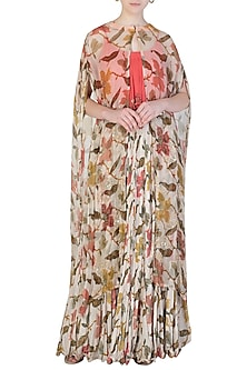 Ivory Crushed Maxi Dress by Pallavi Jaipur