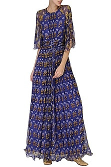 Royal Blue Kimono Maxi Dress by Pallavi Jaipur