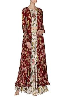 Ivory Printed Skirt with Blouse and Jacket Set by Pallavi Jaipur