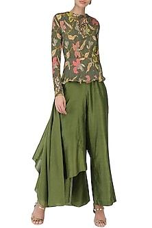 Henna Green Peplum Top with Drape Pants by Pallavi Jaipur
