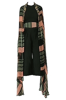 Salmon Pink and Steel Grey Printed Cape by Pallavi Jaipur