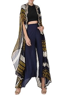 Olive Green and Navy Blue Printed Cape by Pallavi Jaipur