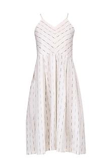 White Ikkat Slip Dress by Pika Love