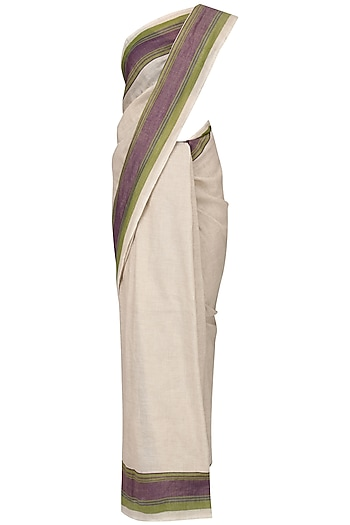 Ivory Linen Saree by Pika Love
