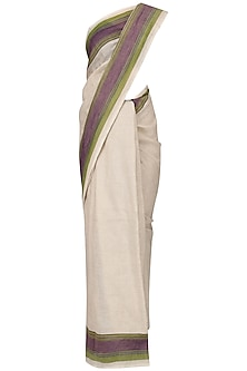 Ivory Linen Saree by Pika Love