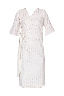 White Ikkat Wrap Dress by Pika Love