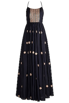 Dark Blue Embroidered Anarkali With Dupatta by Pleats by Kaksha & Dimple