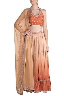 Orange Shaded Embroidered Lehenga Set by Pleats by Kaksha & Dimple