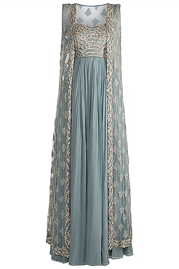 Aqua Blue Embroidered Gown With Jacket by Pleats by Kaksha & Dimple
