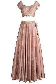 Pink Printed Embroidered Lehenga Set by Pleats by Kaksha & Dimple