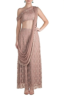 Pink Embroidered Draped Crop Top With Palazzo Pants & Dupatta by Pleats by Kaksha & Dimple
