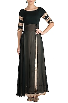 Dark Green Embellished Tunic With Ivory Palazzo Pants by Pleats by Kaksha & Dimple