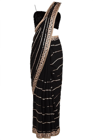 Black Embroidered Saree Set by Pleats by Kaksha & Dimple