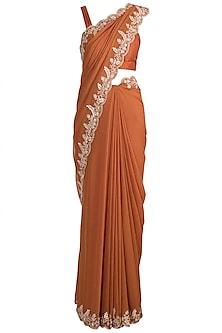 Orange Embellished Saree Set by Pleats by Kaksha & Dimple