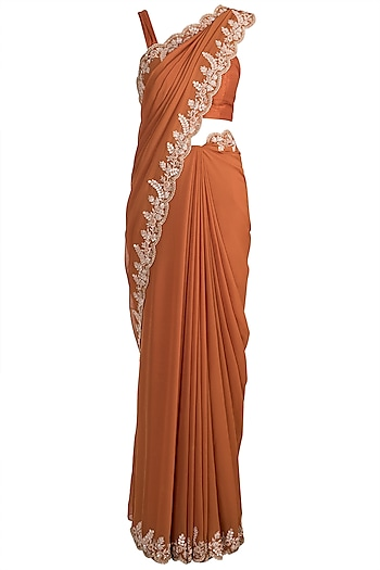 Orange Embellished Saree Set by Pleats by Kaksha & Dimple