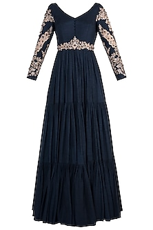 Midnight blue embroidered anarkali set by PLEATS BY KAKSHA & DIMPLE