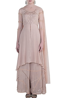 Pastel pink embroidered sharara set by PLEATS BY KAKSHA & DIMPLE