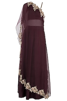 Wine embroidered cape with crop top and skirt by Pleats by Kaksha & Dimple