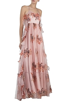 Pink embroidered printed gown by Pleats by Kaksha & Dimple
