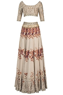 Ivory embroidered printed lehenga set by Pleats by Kaksha & Dimple