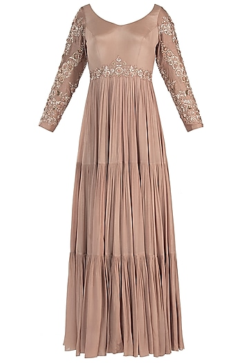 Pink embroidered anarkali gown with dupatta by Pleats by Kaksha & Dimple