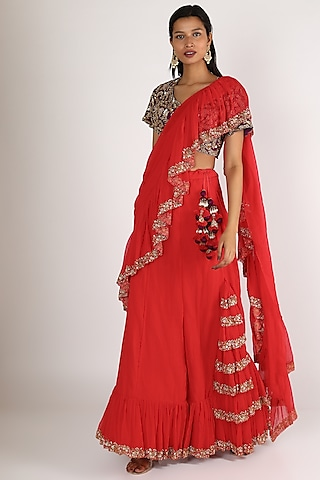 Red Embroidered Lehenga Set by Peppermint Diva