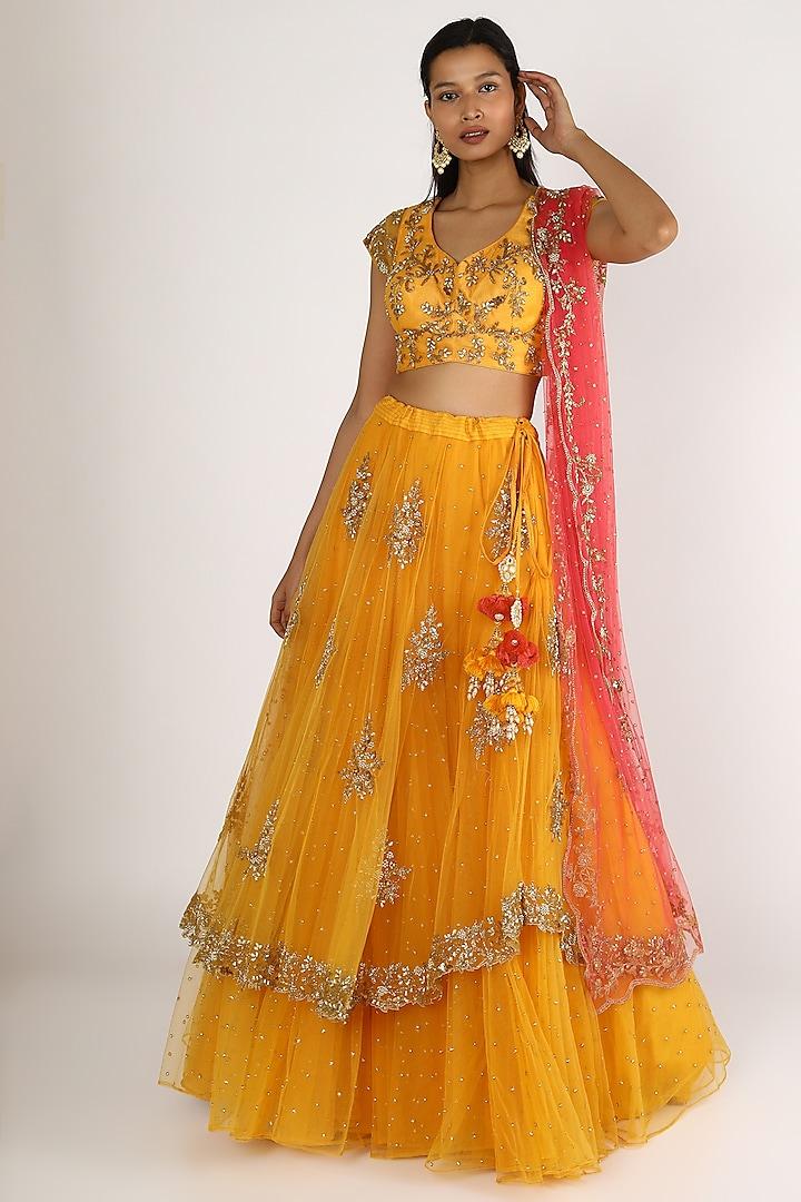 Mango Yellow Embroidered Lehenga Set by Peppermint Diva