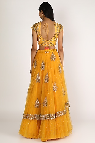 Mango Yellow Embroidered Lehenga Set by Peppermint Diva