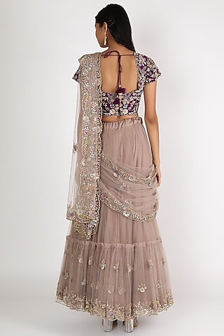 Mauve & Purple Embroidered Lehenga Set by Peppermint Diva