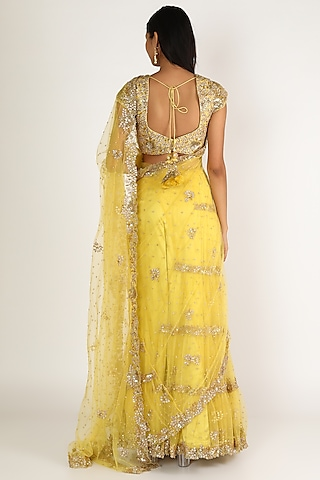Yellow Embroidered Lehenga Saree Set by Peppermint Diva