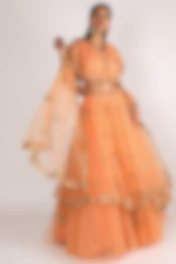 Peach Embroidered Lehenga Set by Peppermint Diva
