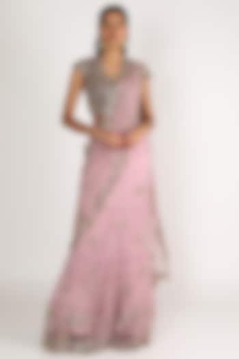 Purple Embroidered Lehenga Saree Set by Peppermint Diva