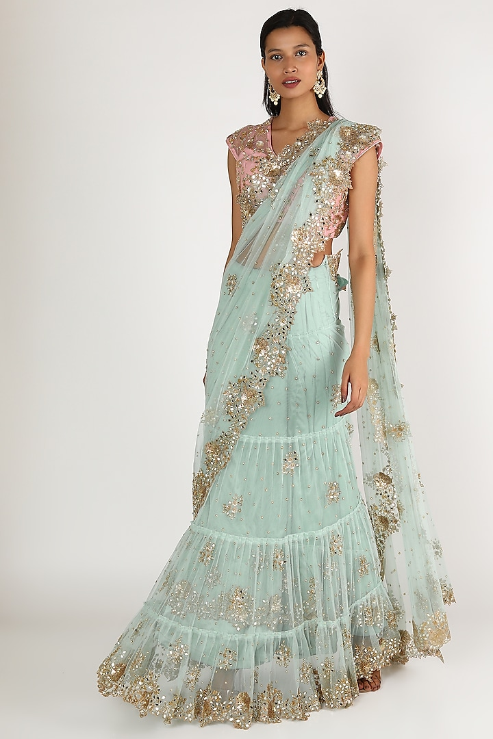 Sky Blue & Pink Embroidered Lehenga Saree Set by Peppermint Diva