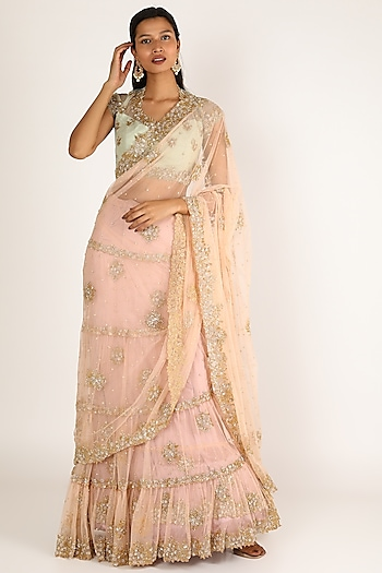 Blush Pink & Blue Embroidered Lehenga Saree Set by Peppermint Diva