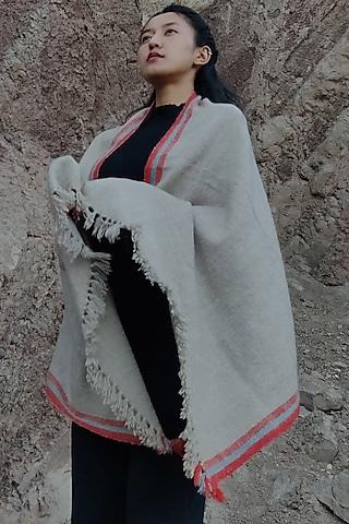 Grey Pashmina Scarf With Dyed Hem by Lena Ladakh Pashmina