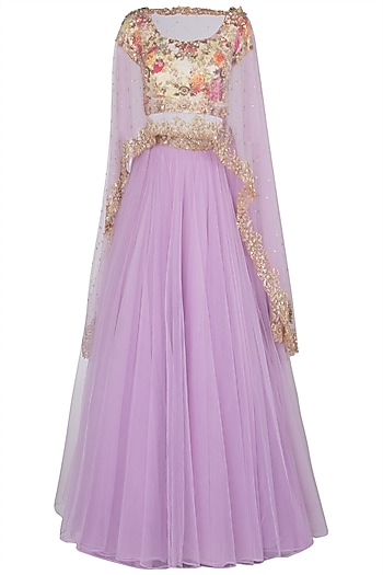 Lavender Embroidered Cape Lehenga Set by Peppermint Diva