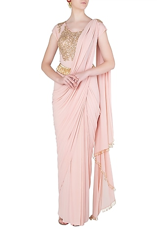 Baby Pink Embellished Pre-Sititched Saree by Peppermint Diva