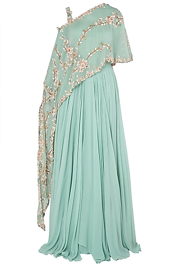 Turquoise Asymmetrical Embroidered Cape with Lehenga Skirt by Peppermint Diva