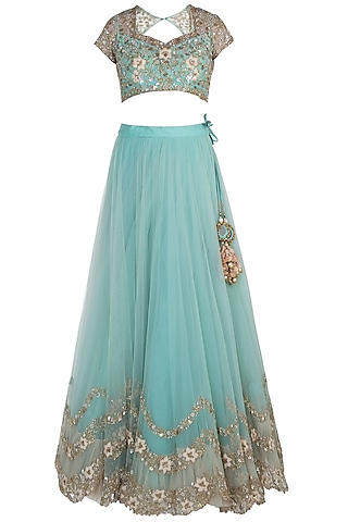 Turquoise Three Layered Lehenga Set by Peppermint Diva