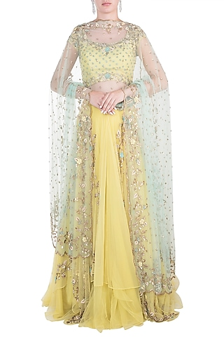 Yellow Embroidered Lehenga Set by Peppermint Diva