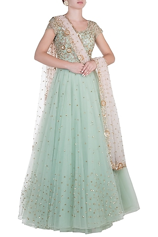Turquoise Embroidered Anarkali Gown Set by Peppermint Diva