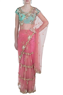 Pink Embroidered Saree Set by Peppermint Diva