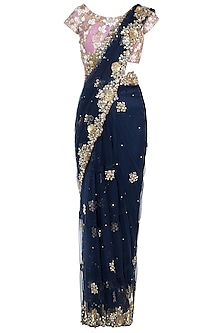 Navy Blue Embroidered Frill Saree Set by Peppermint Diva