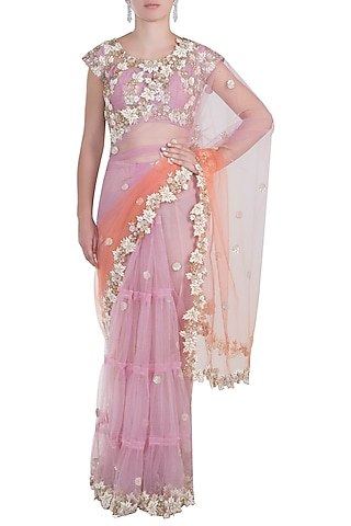 Lavender Shaded Embroidered Saree Set by Peppermint Diva