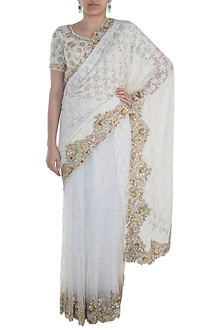 Cream Chikankari Saree Set by Peppermint Diva