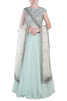 Powder Blue Lehenga Set by Peppermint Diva