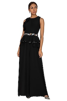 Black Embroidered Jumpsuit by Prerana Nagpal