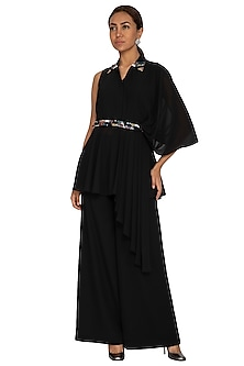 Black Embroidered Peplum Blouse With Pants & Waistband by Prerana Nagpal